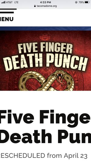 2 Tickets to Five Finger Death Punch w/Papa Roach for Sale in University Place, WA