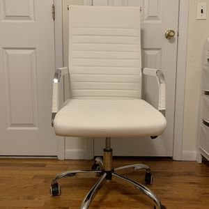 Ribbed Office Desk Chair Mid-Back PU Leather Executive Conference Task Chair Adjustable Swivel Chair with Arms for Sale in Brooklyn, NY