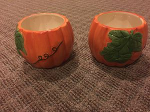 2 Ceramic Pumpkin flower pots for Sale in Glenside, PA