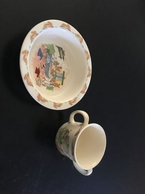 Bunnykins by Royal Doulton ( bowl & cup) for Sale in Lancaster, CA