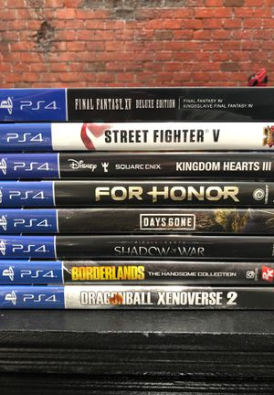 PS4 Games - Final Fantasy XV, Street Fighter V, Kingdom Hearts 3, For Honor, Days Gone, Shadow of War, Borderlands, Dragonball Xenoverse 2 for Sale in North Las Vegas, NV