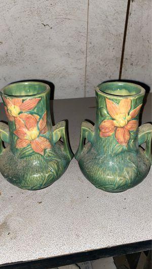 Roseville vintage pottery 2 vases 106-7 for Sale in Medford, MA