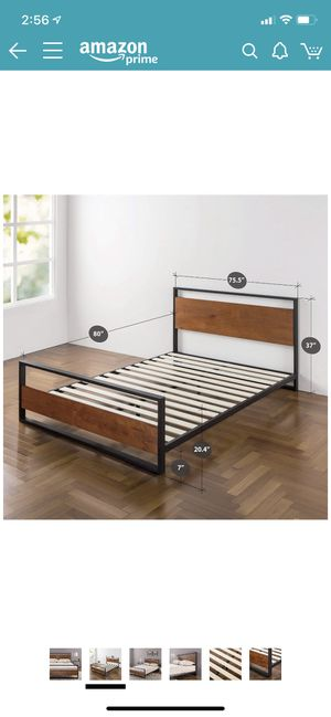 King size bed frame - LIKE NEW metal and wood with floorboard and headboard for Sale in Olympia, WA