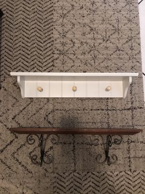 Decorative Wood (and metal) Wall Shelves (2) for Sale in Delray Beach, FL