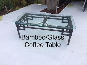 """Bamboo/Glass Coffee Table, 48"""" X 25"""" for Sale in Palm Beach, FL"""