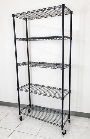 "$70 NEW Metal 5-Shelf Shelving Storage Unit Wire Organizer Rack Adjustable w/ Wheel Casters 36x14x74"" for Sale in Whittier, CA"