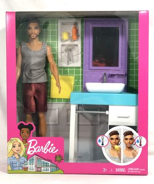 Barbie Bathroom Themed Playset with Shaving Ken Doll and Sink/Mirror. for Sale in Houston, TX