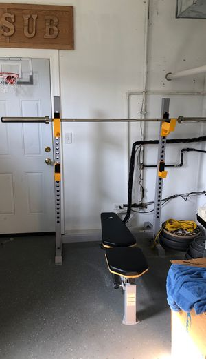Adidas bench with full weight set and bars for Sale in Vernon Hills, IL