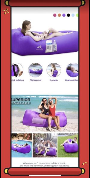 Inflatable Lounger Air Sofa Hammock - Portable Anti-Air Leaking for Sale in Alhambra, CA