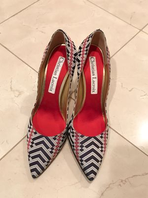 Christian Lacroix woven silk pump, size 40, made in Italy for Sale in San Diego, CA