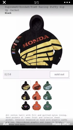 Supreme Honda Fox Jacket Size Large $210 for Sale in Compton, CA