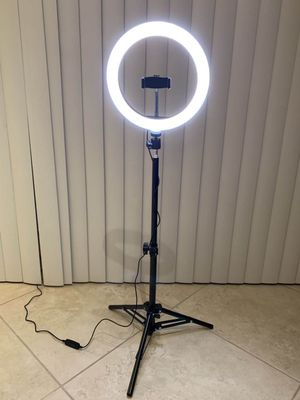 New in box 10 inches Ring LED Light Warm and Cold 3000 to 6500K USB with Adjustable Tripod and Controller Video Maker Phone or Camera Holder Included for Sale in Covina, CA