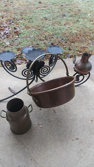 Lot copper 3 pc pot jug brass handles vintage for Sale in Clarksville, TN
