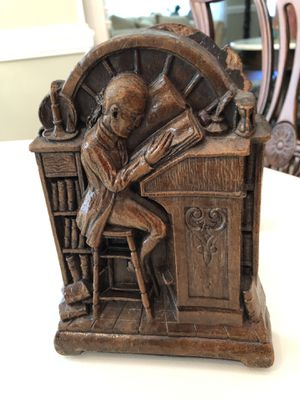 """SYROCO WOOD SYRACUSE N.Y. VICTORIAN MAN READING AT LIBRARY DESK BOOKENDS. """"1950s""""VINTAGE for Sale in Mobile, AL"""