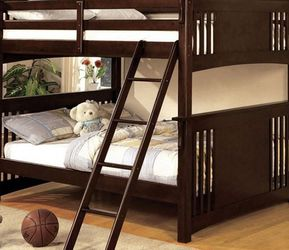 New Box Full Full Dark Walnut Bunk Bed With Mattresses for Sale in College Park,  MD