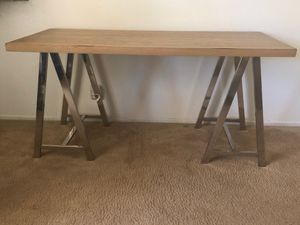 Sleek Chrome-Stand Desk with Wood Top for Sale in Anaheim, CA
