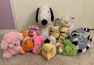 Plushies Bundle  Stuffed Animal Bundle, Cute Plushies, Large Peanuts Snoopy Plush, Hanging monkey plush, minion plushies, 12 total for Sale in Pomona, CA