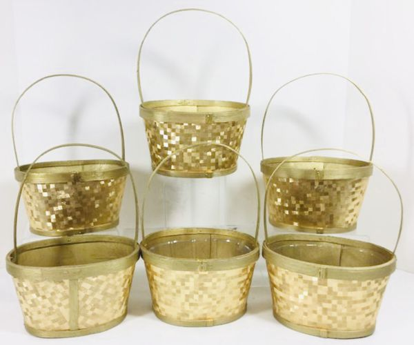 *NEW* Holiday Christmas Gold Handled Woven Baskets - $1 EACH