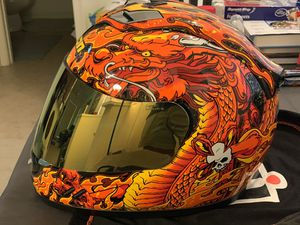 Icon Dragon motorcycle helmet with custom gold mirror visor for Sale in Delray Beach, FL