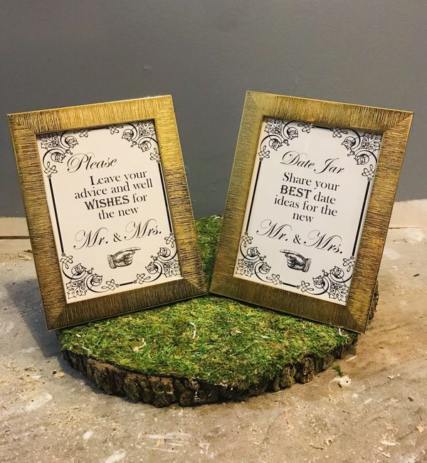 Mr Mrs Advice & Shares Best Date Jar Ideas Pair Photo Gold Frame Wedding Decor Sign