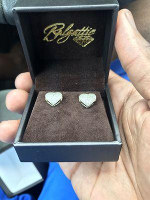 Real Gold N Diamond Heart Shaped Earrings for $80 for Sale in Brandon, FL