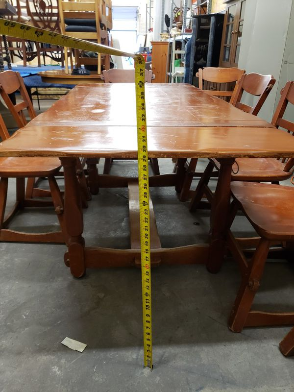 Farmhouse dining room table and 10 chairs all maple