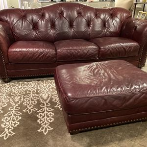 Three Cushion Leather Couch for Sale in Lawrence, MS