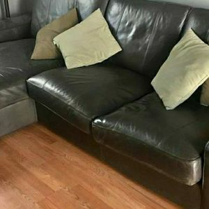 Ikea KIVIK sofa w/ Chaise, Dark Brown Leather, 800 Obo, Free Local Delivery for Sale in Beverly Hills, CA