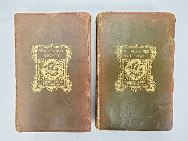 14 Works of Robert Louis Stevenson - Softcover Leather Bound - Copyright 1912 - New York