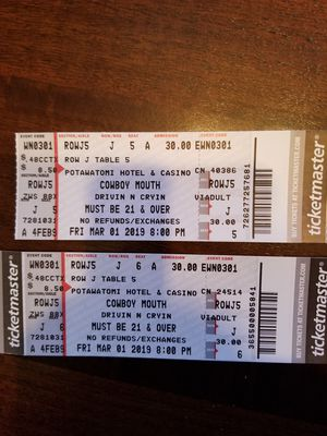 2 Concert Tickets for Sale in Neenah, WI