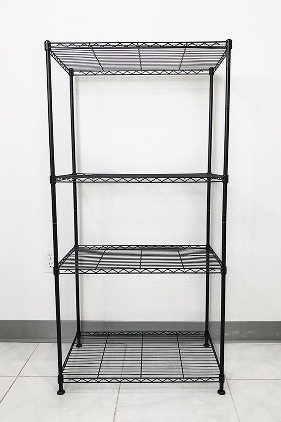 New in box $35 Small Metal 4-Shelf Shelving Storage Unit Wire Organizer Rack Adjustable Height 24x14x48""