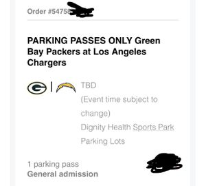 Tailgate Parking Ticket Chargers vs Packers Silver Parking for Sale in Rosemead, CA