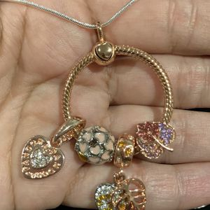 "Pandora style Carrier and charms! Moments collections, 925 silver plate. FREE NECKLACE 20""in!! for Sale in Fullerton, CA"