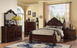 🌟DISCOUNT FURNITURE Charlotte Dark Brown Carved Wood Accents Queen Bedroom Set. for Sale in Garden Grove, CA