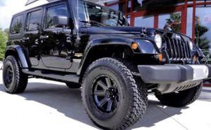 """17"""" JEEP Off-Road Wheel & Tire Special ✅ 17x9 Rims ✅ 35x12.50R17 Mud Terrain Tires ✅ Lift Kit 17"""" JEEP Off-Road Wheel & Tire Special ✅ 17x9 Black Whe for Sale in La Habra, CA"""