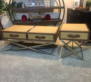 Trunk luggage coffee table & side table set genuine canvas & leather for Sale in San Diego, CA