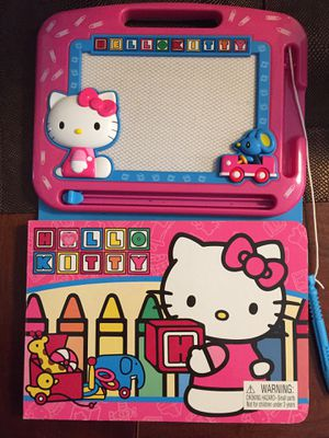 Hello Kitty magnetic drawing pad with pen and story book attached for 3 year old and up for Sale in Issaquah, WA