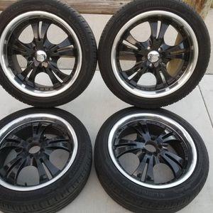 "4 Vision Wheels Black Chrome Lips 17"" Wheels 5x1 00 Tires 215/45/17 Prius Corolla Matrix Vibe PT Cruiser Scion xD for Sale in Huntington Beach, CA"