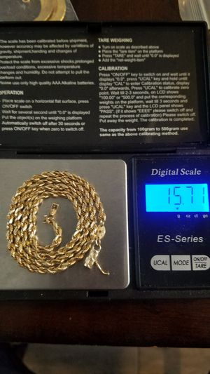 14k real gold diamond cut solid rope chain,15.71 grams,19 inches long, 4mm .barrel safety clasp. firm price for Sale in Phoenix, AZ