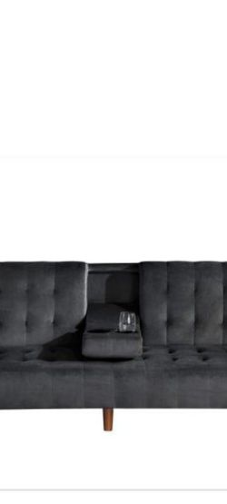 US PRIDE FURNITURE Carrington 72 in. Black Velvet 2-Seater Twin Sleeper Convertible Sofa Bed with Tapered Legs for Sale in Glendale,  AZ
