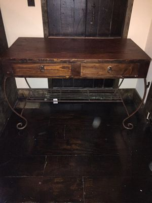 Antique wood and iron desk with matching chair for Sale in Garner, NC