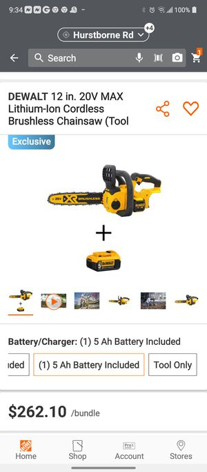 Dewalt 20v 12 inch chainsaw /5ohm battery for Sale in Louisville, KY
