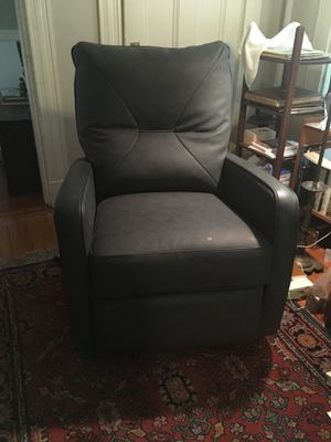 Like new faux leather recliner chair, dark gray for Sale in Cambridge, MA