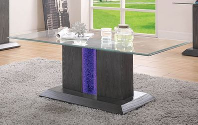 MODERN EMBEDDED BLUE LED LIGHTING GLASS TOP COFFEE CENTER TABLE - MESA DE CENTRO for Sale in Downey,  CA