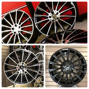 Back in stock 20 inches Mercedes Benz amg rims blackmachine and gloss black multispoke for Sale in West Caldwell, NJ