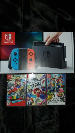 Nintendo Switch Bundle - Neon Blue/Red Console with 3 games for Sale in Dearborn Heights, MI