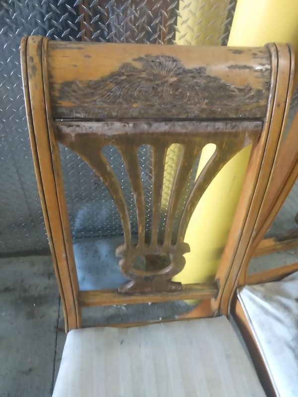 DIY project two chairs wooden need repair reupholstering