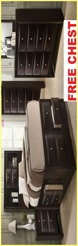 Brand New Nuevo 5 Piece(Bed Frame-Dresser- Mirror-Nightstand- Chest)Queen Size Emily Storage, Platform and Bookcase Set. FREE CHEST. King Available for Sale in Houston, TX
