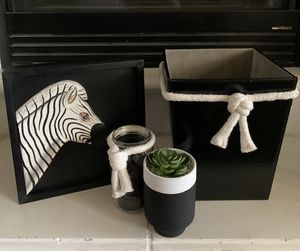 Wood zebra wall art, storage/waste basket, candle holder and potted succulent for Sale in Visalia, CA