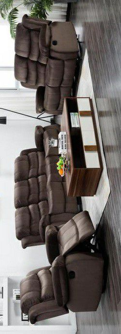 🍀In stock new brand/Brownie Cocoa Short Plush Reclining Living Room Set for Sale in Columbia, MD